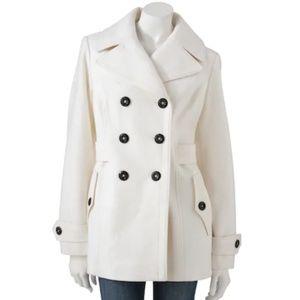 Apt 9 Cream Ivory Wool Blend Peacoat Size M